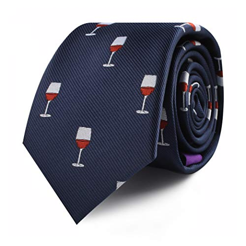 (Wine Lover Wine Glass for Him Shiraz Merlot Cabernet Vino Skinny Neckties | Present for Work Colleague | Bday Gift for Guys (Wine))
