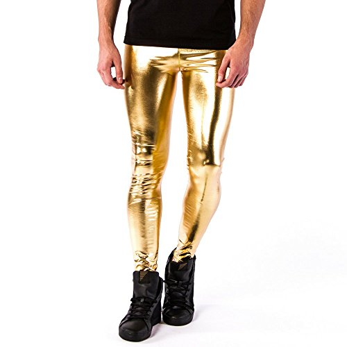 Kapow Meggings Men's Metallic Range Leggings - Holographic, Wet Look & Glitter (24 Carat Gold, Extra Large)