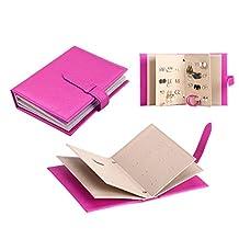 Sourcingbay Jewelry Travel Organizer-Litte Book Design PU Leather Jewelry Earing Storage Pink