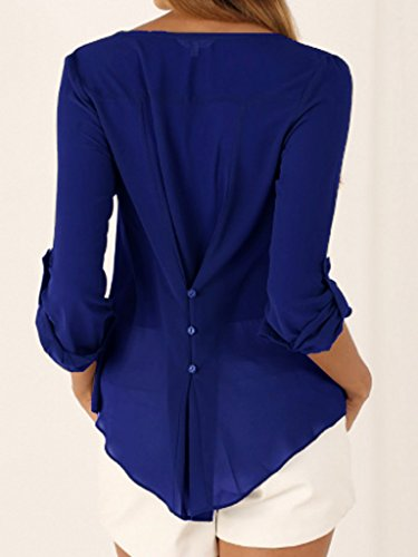 Blouse Chemise Bleu Couleur Femme V Manches Col T Xiang Uni Large Longues Royal Ru Shirt B14Tq
