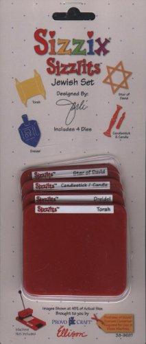 Sizzlits 4 Dies (Sizzix Sizzlits 4 Pk Set Jewish Set Torah Star of David Dreidel Candlestick)