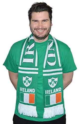 Ireland St.Patrick's Day Green & White Shamrock Deluxe Scarf