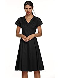 ACEVOG Women's Bodycon V-Neck Folded Wrap Pleated Work Party Stretchy Dress