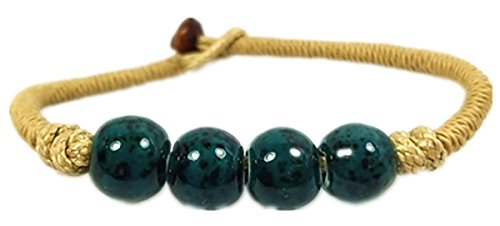 Hand-woven Colorful Unisex Four-beaded Round Ceramic Porcelain Bracelet (Spotted Dark Green) Ceramic Mens Bracelets