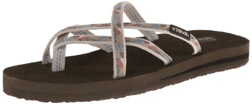 Gold Swirl Pattern - Teva Women's Olowahu Flip-Flop - 7 B(M) US - Waterfall/Antique Gold