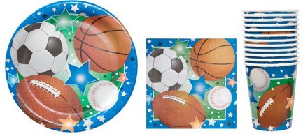 Sports Themed Party Supply Pack - Plates, Napkins and Cups - Baseball, Football, Soccer, Basketball ~ Serves 12 Guests by Greenbrier (Sports Theme Party Ideas)