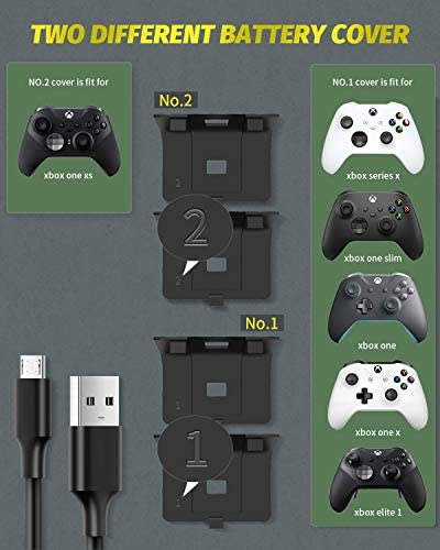 Controller Battery Pack for Xbox One/Xbox Series X|S, OLCLSS Rechargeable Battery Pack for Xbox Series X|S/Xbox One/Xbox One S/Xbox One X/Xbox One Elite Controller with 2x1100mAh Rechargeable Battery
