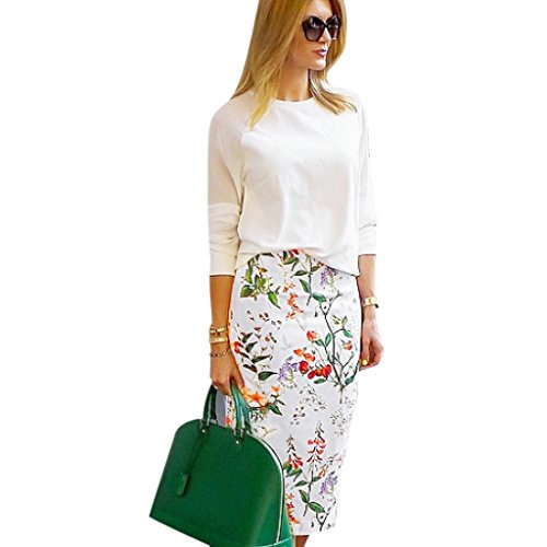 Anshinto Summer Womans Natural Straight Fashion Floral Printing Knee Length Pencil Skirt