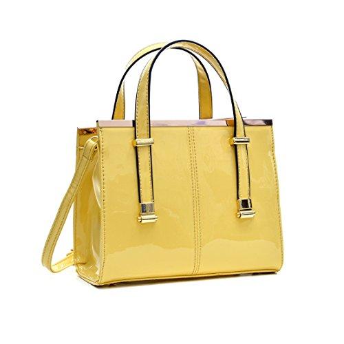 Dasein Fashion Mini Satchel Bag Crossbody Purse (Yellow Mini Handbag)