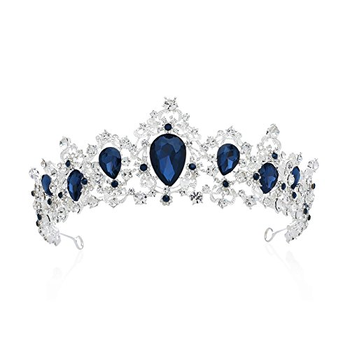 SWEETV Royal CZ Crystal Tiara Wedding Crown Princess Headpieces Bridal Hair Accessories, Sapphire+Silver