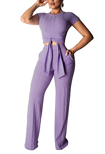 Womens 2PC Outfits Short Sleeve O Neck Crop Top Front Tie Wide Leg Long Pants with Pockets Sets