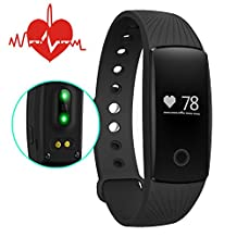 Heart Rate Monitor Smartband,007plus Bluetooth 4.0 Smart Bracelet smart band Heart Rate Monitor Wristband Fitness Tracker D107 for Android iOS Smartphone (Black)