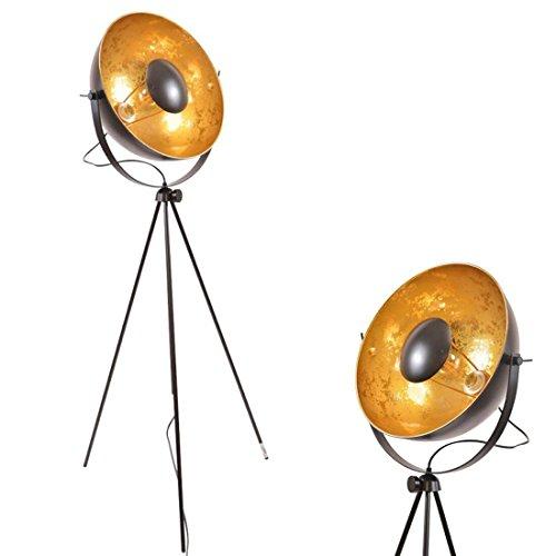 Modern Designer Reflector Studio - Black Gold Industrial Vintage Metal Adjustable Satellite Tripod Floor Lamp Mid Century Floor Lights For Bedroom Living Room - E26 Edison Bulb No Included