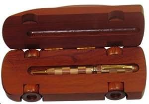 Bolígrafo en caja de madera de caoba (en dos tonos), diseño de coche,