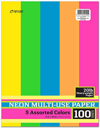 Top Flight Heavyweight 20lb Multi-Use Paper, 8.5 x 11 Inches, 100 Sheets, 5 Assorted Neon Colors (4440100) - Multi Use Color