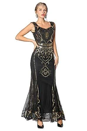 Amazon.com: Metme Sequin Beaded Long Dresses, Gatsby Theme