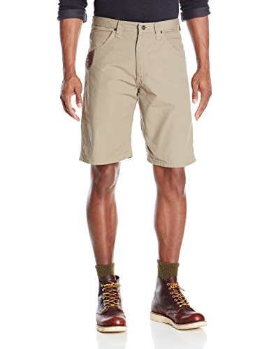 Wrangler Men's Riggs Workwear By Technician Short, Dark Khaki, 32 (Shorts Phone Khaki Pocket Cell)