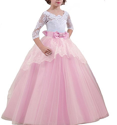 Qunsia Girls Princess Pageant Wedding Dresses Kids Prom Puffy Tulle Ball Gown -