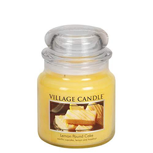 Village Candle Lemon Pound Cake 16 oz Glass Jar Scented Candle Medium