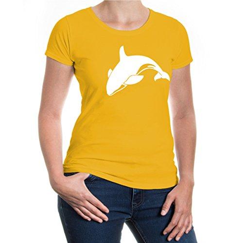 Girlie T-Shirt Killer Whale-Animal-Silhouette-XXL-sunflower-white