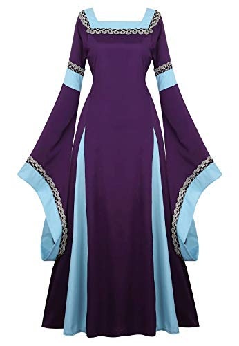 Renaissance Dress Medieval Long Sleeve Gown Irish Over Deluxe Cosplay Costumes for Women Vintage Purple M