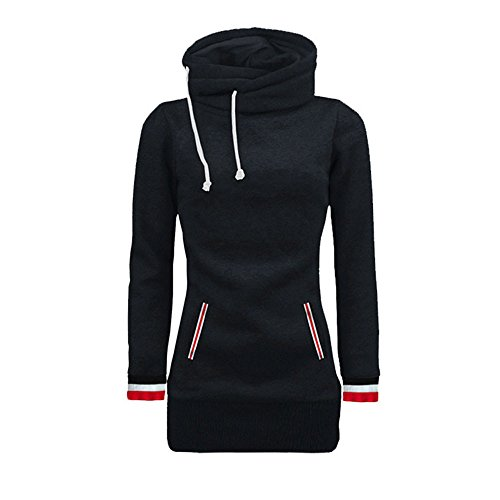 Mysky Fashion Women Casual Striped Patchwork Hooded Sweatshirt Ladies Simple Pure High Collar Pullover Blouse for $<!--$9.54-->