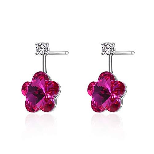 WANZIJING Women's Sterling Silver Earrings, Flower Earrings Blue Flower Stud Earrings Unique Design Crystal Fashion Earrings for Girls,Red ()