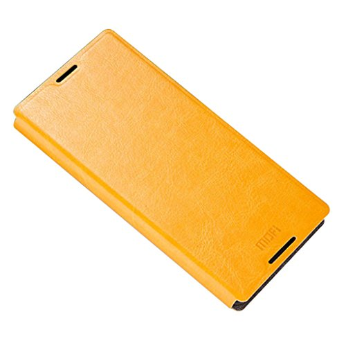 KaTelin Sony Xperia Z5 Funda - Funda Carcasa Flake Interna Acero Cuero Tapa Case Cover para Sony Xperia Z5 - Negro Amarillo