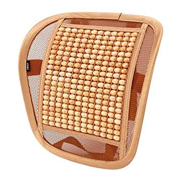 Uniqus Universal Summer Ice Silk Mesh Breathable Cool Massage Waist Mat with Maple Wooden Bead for Car Family Office