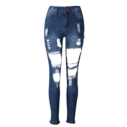 OSYARD Jeans Femme Slim Dechir, Pantalon Skinny Crayon Pantalons Slim Long Jeans Bleu