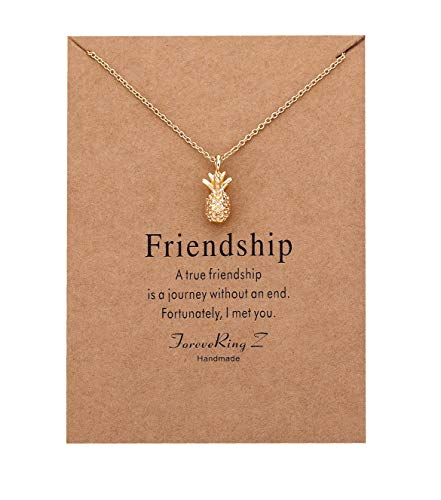 ForeveRing Z Pineapple Pendant Necklace Fruit Necklace Women Jewelry Message Card Necklace