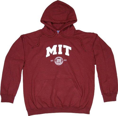 MIT Hoodie Hooded Sweatshirt Maroon - L