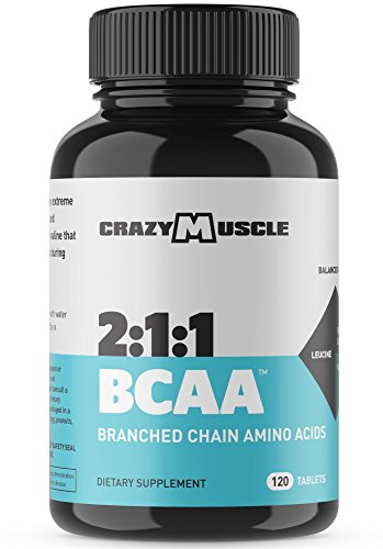BCAA Pills with the Perfect 2:1:1 Ratio of Branched Chain Amino Acids Supplements for Optimum Muscle Recovery and Growth - 1000mg of BCAAs per Pill (Better than Capsules) by Crazy Muscle - 120 Tablets