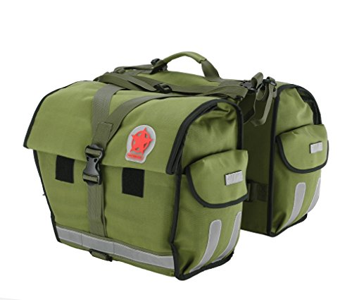 tant Bicycle Rear Seat Carrier Bag Double Pannier Bag Army Green 45L with ()
