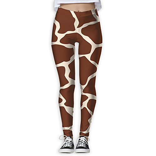 Womens Brown And Yellow Giraffe Spotted New Fashion GYM Sportswear Slim Active Yoga Capris Printed Pants Personalized Casual Pants For Women Home & Outdoor ()