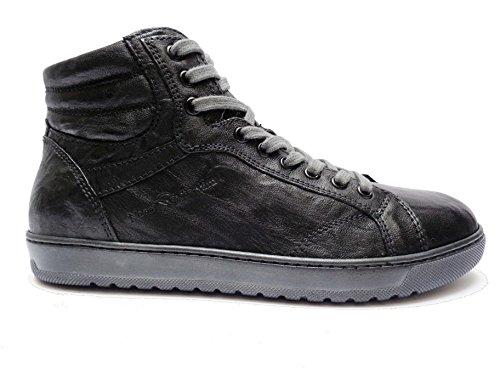 Nero Giardini 5350 scarpe alte casual da uomo in pelle col. Nero con lacci + cerniera laterale, num. 41