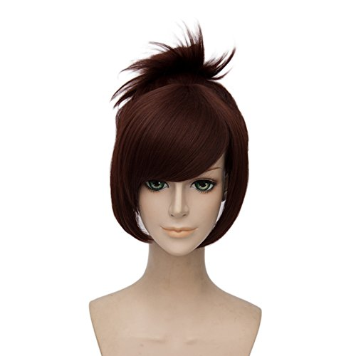 Netgo Brown Cosplay Wig with 1 Clip on Ponytail Heat Resistant Custome Halloween Wigs for Women Girls