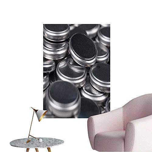 Wall Stickers for Living Room Heap of Lithium Button Cell Batteries Closeup with Shallow Vinyl Wall Stickers Print,16
