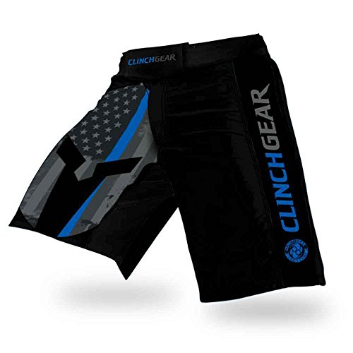 Clinch Gear Performance Cross-Training Shorts - MMA Grappling Fight Shorts, Kickboxing Shorts for Men, Professional Performance Gym Shorts for Guys, Pro Series Athletic Shorts (Thin Blue Line, 36)