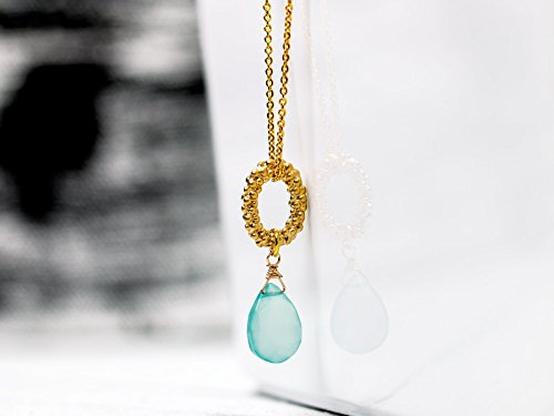 Gemstone necklace // Elegant gold-plated long link chain with aqua chalcedony -