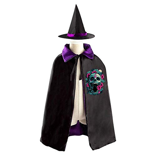 69PF-1 Halloween Cape Matching Witch Hat Color Skull Tattoos Wizard Cloak Masquerade Cosplay Custume Robe Kids/Boy/Girl Gift Purple ()