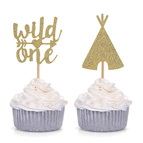 Giuffi Set of 24 Golden Boho Tribal Cupcake Toppers Teepee Wild one Baby First Birthday Decors (1 Boho)