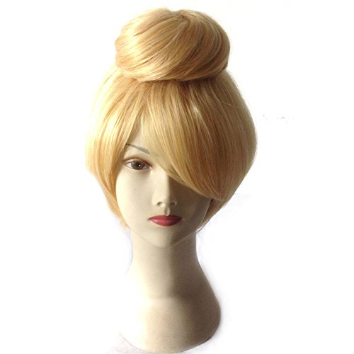 Price comparison product image Short Blonde Cosplay Wig Fairy Bell Full hair Wig Adult Size synthetic wigs Princess Tinkerbell