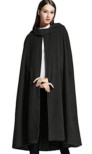 Sheicon Women Batwing Cape Wool Poncho Jacket Warm Cloak Coat with Hood (One Size, ()