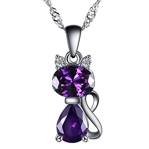 Blingsoul Cat Necklace - Sterling Silver Necklace Purple Emerald Cat Jewelry Gifts for Women