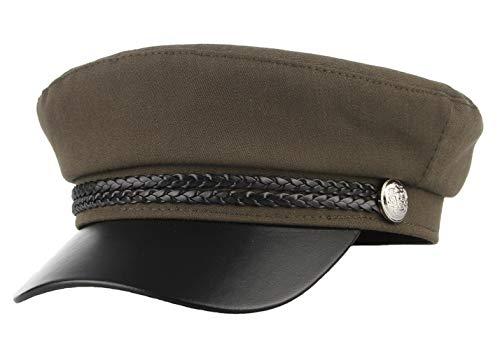 Gemvie Unisex Cotton Cabbie Flat Fiddler Sailor Cap Leather Greek Fisherman Hat Cap/Army Green