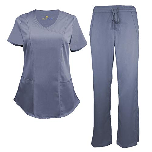 Natural Uniforms Women's Ultra Soft Modern Fit Mock Wrap Scrub Set (Charcoal, ()