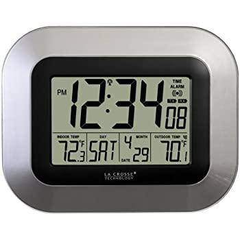 La Crosse Technology (WS-8115U-S) Atomic Digital Wall Clock with Indoor and Outdoor Temperature