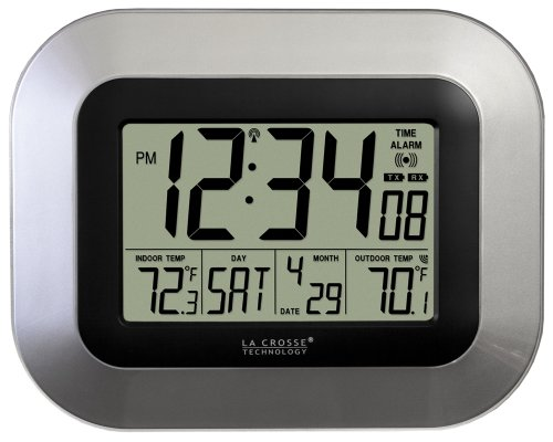 La Crosse Technology WS-8115U-S-INT Atomic Digital Wall Clock with Indoor and Outdoor Temperature - Magically Displays