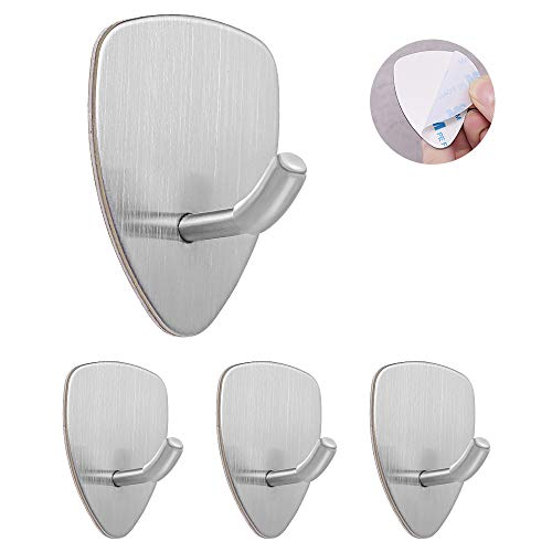 Self Adhesive Hooks, 4 Pack of Waterproof and No Drill Needed for Kitchen Bathroom Bedroom Office